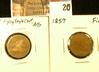 (2) 1857 U.S. Flying Eagle Cents, AG & Fine.