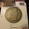 960 . 1908-O Barber Half Dollar, VG, value $17