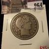 964 . 1909-S Barber Half Dollar, F, value $45