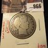 966 . 1911-D Barber Half Dollar, VG, low mintage (695,000), value $