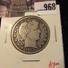 968 . 1912 Barber Half Dollar, VG, value $17