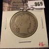 969 . 1912-D Barber Half Dollar, G, value $16