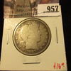 957 . 1907-O Barber Half Dollar, G, value $16
