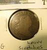 1807 U.S. Large Cent, Good, obverse scratches, 90% reverse rotation.