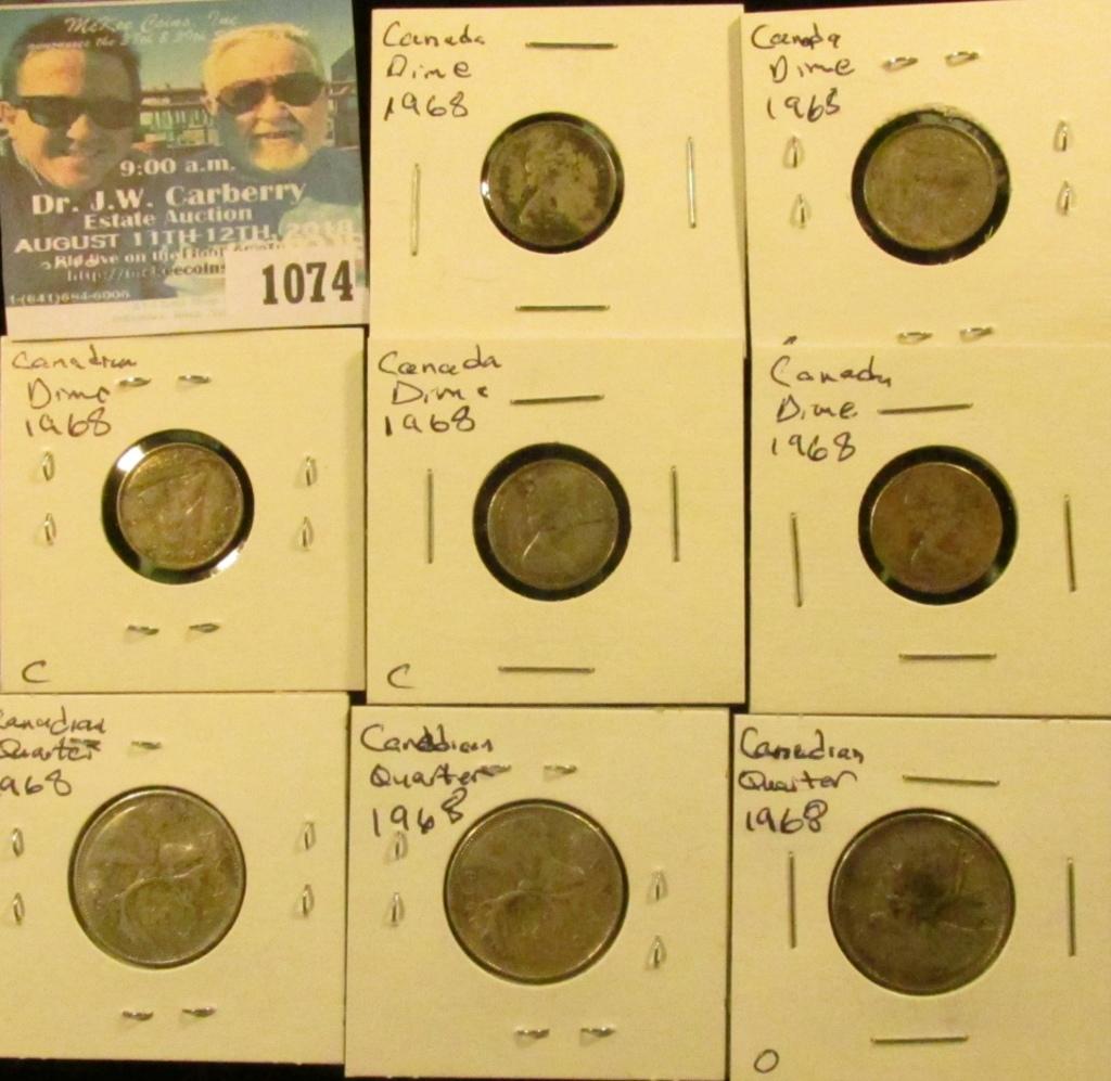 Lot: 1074 _ (5) 1968 Canada Silver Dimes & (3) 1968 Canada