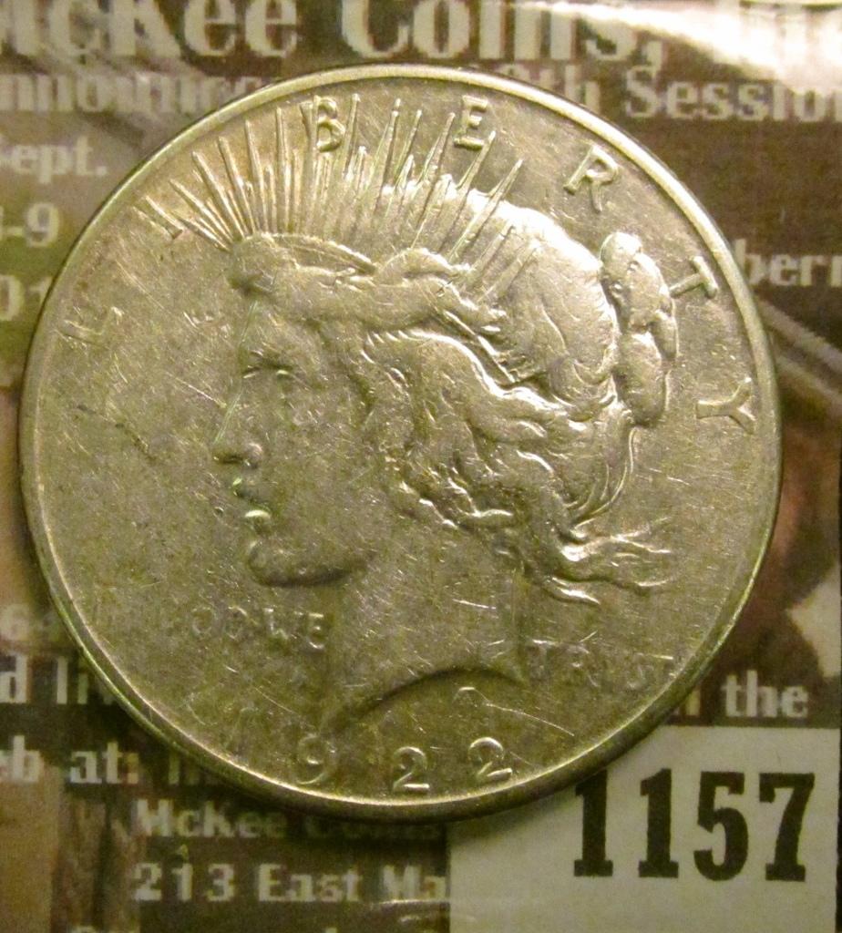 Lot: 1157 _ 1922 S U S  Peace Silver Dollar  | Proxibid Auctions