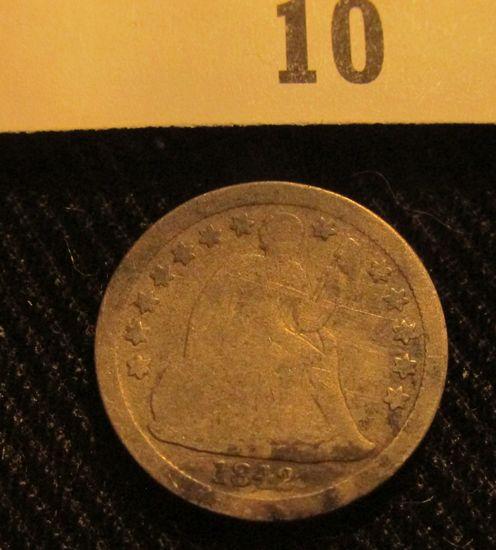 1842 P Liberty Seated Dime.