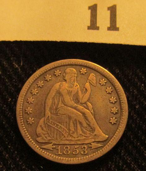1853 P Liberty Seated Dime.