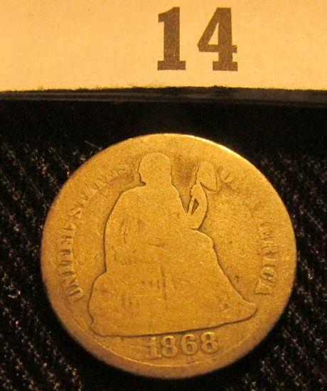 1868 P Liberty Seated Dime.