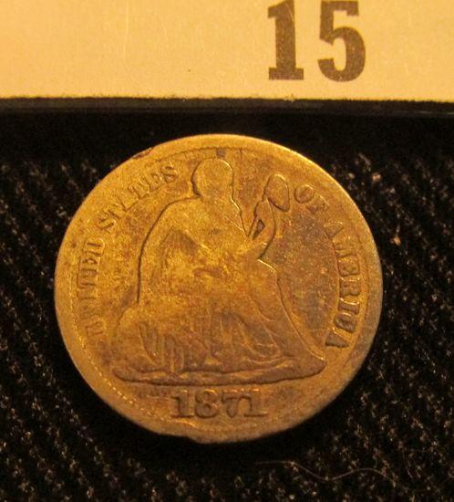 1871 P Liberty Seated Dime.