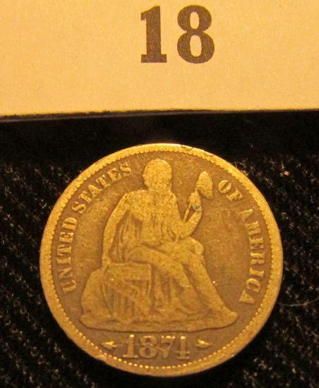 1874 P Liberty Seated Dime.
