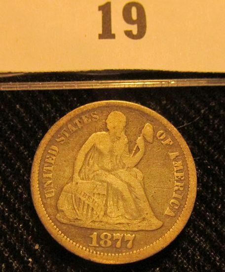 1877 P Liberty Seated Dime.