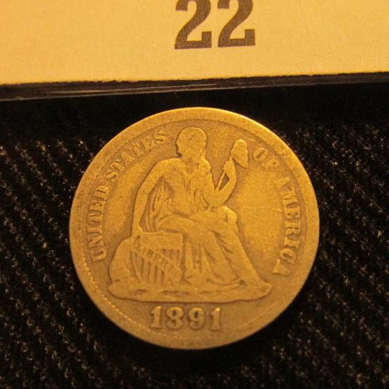 1891 O Liberty Seated Dime.