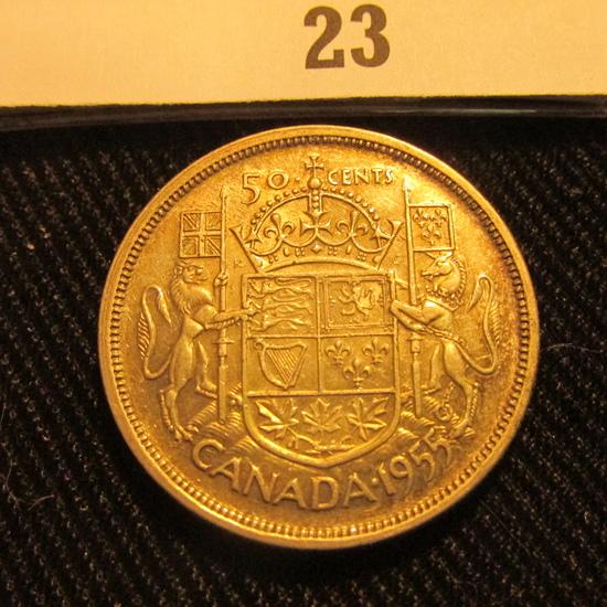 1955 Canada Silver Half Dollar, light toning.