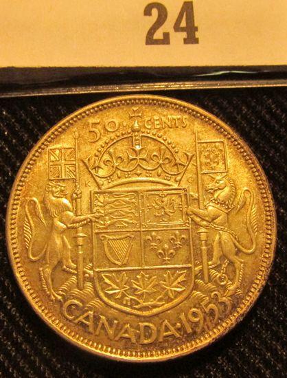 1953 Canada Silver Half Dollar, light toning.