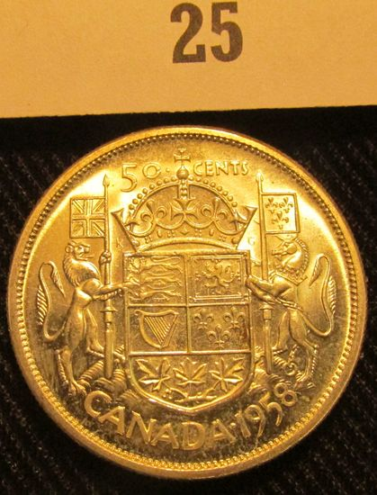 1958 Canada Silver Half Dollar, Brilliant Uncirculated.