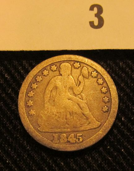 1845 P Liberty Seated Dime.