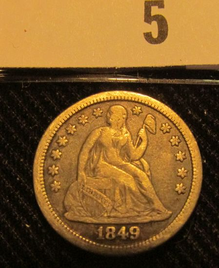 1849 P Liberty Seated Dime. Popular Year of the California Gold Rush.