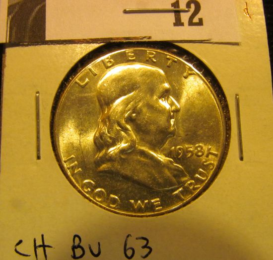 1958 P Franklin Half Dollar, CH BU 63.