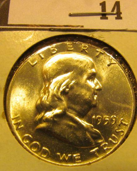 1959 P Franklin Half Dollar, CH BU 64.