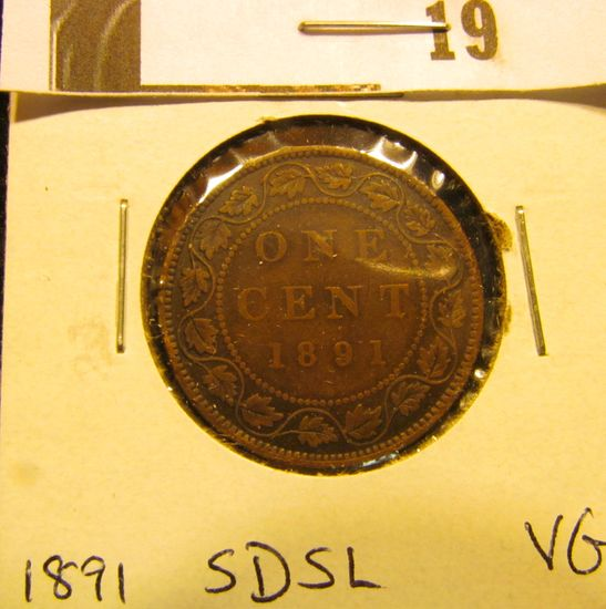 1891 Canada Large Cent, small date, small leaves, VG.