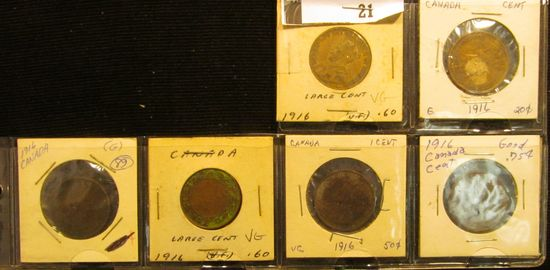 (6) 1916 Canada Large Cents, G-VG with various problems.
