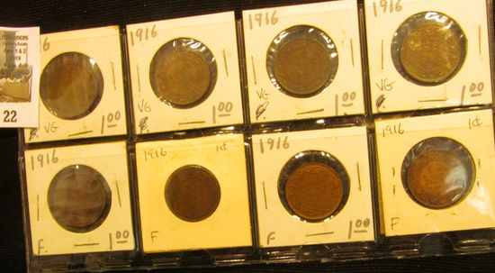 (8) 1916 Canada Large Cents, (4) VG, (4) F.