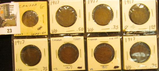 (8) 1917 Canada Large Cents, (1) G, (7) VG.