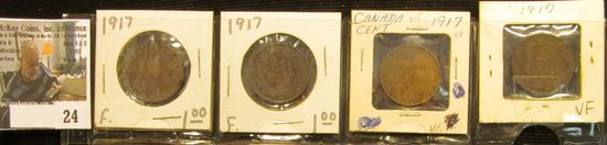 (4) 1917 Canada Large Cents, 2 fine, 2 VF.