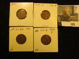 1910 P EF, 10 S Very Good, 11P AU, & 11D VG Lincoln Cents.