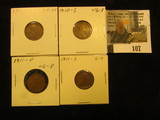 1910 P EF, 10 S Very Good, 11D VG, & 11S G Lincoln Cents.