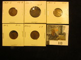 1910 S Very Good, 11D VG, 11S VG, 12P Fine, & 12S Good Lincoln Cents.