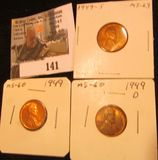 1949 P, D, & S Lincoln Cents, Red to Red-Brown Lincoln Cents, Brilliant Uncirculated.