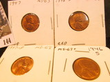 1946S, 47P, D, & 48D Lincoln Cents, mostly Red Lincoln Cents, Brilliant Uncirculated.
