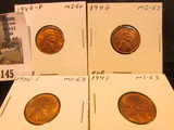 1946 P, D, S, & 47 P Lincoln Cents, mostly Red Lincoln Cents, Brilliant Uncirculated.