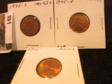1945 P, D, & S Lincoln Cents, Brown to mostly Red Lincoln Cents, Brilliant Uncirculated.