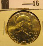 1960 P Franklin Half Dollar, CH BU 64 FBL.