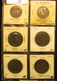 (6) 1859 Canada Large Cents, VG with various problems.