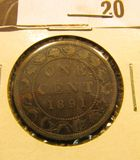 1891 Canada Large Cent, large date, large leaves, F.