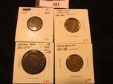 (4) Low grade type coins - Matron Head Large Cent (1816-1857), Flying Eagle Cent (1856-1858), 1859 C