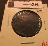 1820 U.S. Large Cent, faint date.