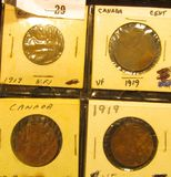 (4) 1919 Canada Large Cents, VF.