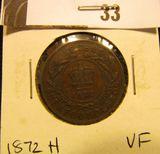 1872H Newfoundland One Cent, VF.