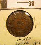 1919C Newfoundland One Cent, AU, with reverse scratch.