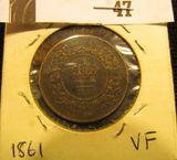 1861 Nova Scotia One Cent, VF.