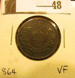 1864 Nova Scotia One Cent, VF.