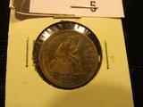 1858 P U. S. Seated Liberty quarter, Choice AU.