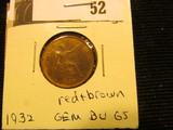 1932 British Farthing GEM BU 65 red and brown.