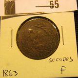 1863 Mexico One Centavo Fine, scrapes.