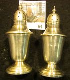 Pair of Sterling Silver Salt and Pepper Shakers, stamped on bottom